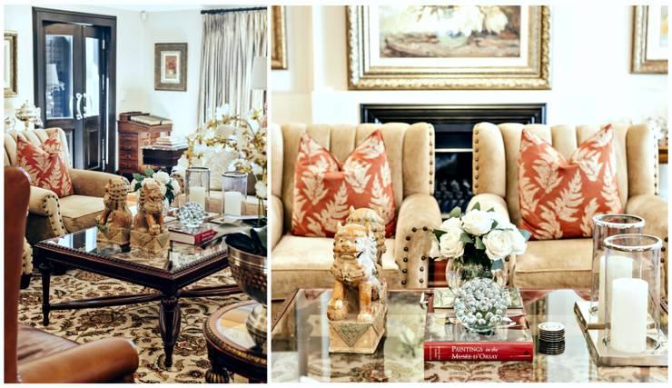 Pop of red :  Living room by Joseph Avnon Interiors, Classic