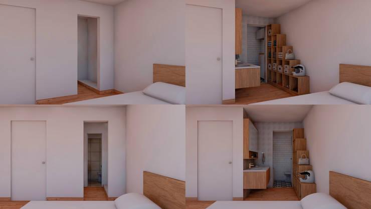 Vistas 3d del Antes y después del proyecto de remodelación a realizar: Baños de estilo  por MESIA ARQUITECTOS