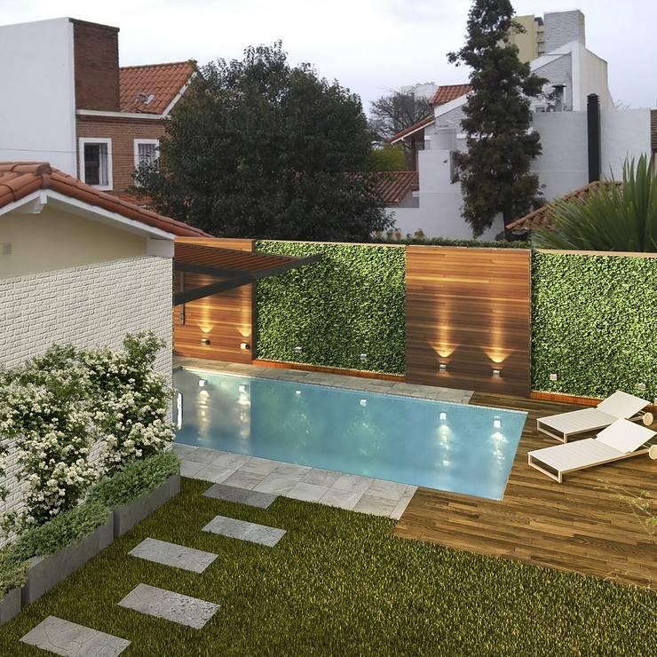 Piscina y parquizacion: Jardines con piedras de estilo  por laura zilinski arquitecta,Moderno