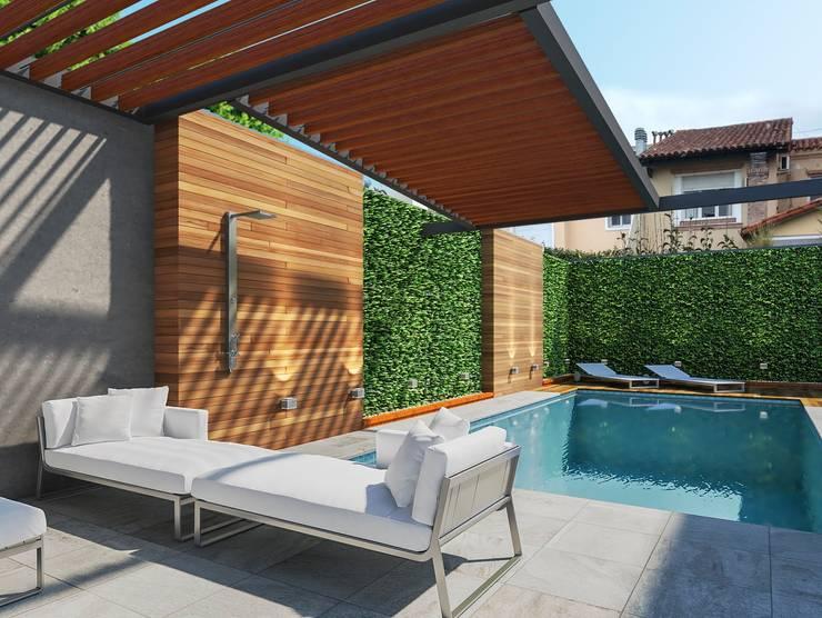 Piscina y parquizacion: Piletas de estilo  por laura zilinski arquitecta,Moderno