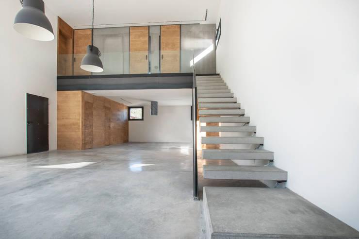 Escaleras voladas y doble altura en el espacio principal : Escaleras de estilo  de MODULAR HOME