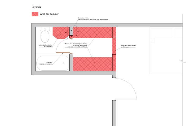Remodelación de baño principal en Surco: Baños de estilo  por MESIA ARQUITECTOS
