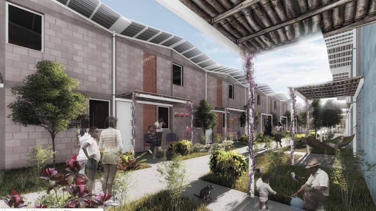 Vivienda Social Progresiva Cartagena, Hábitat Evolutivo.: Casas multifamiliares de estilo  por CONTRAPUNTO TALLER DE ARQUITECTURA
