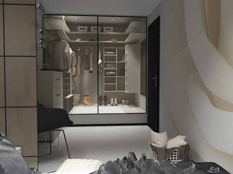 Sypialnia z garderobą: styl , w kategorii Sypialnia zaprojektowany przez d.b.mroz@onet.pl,