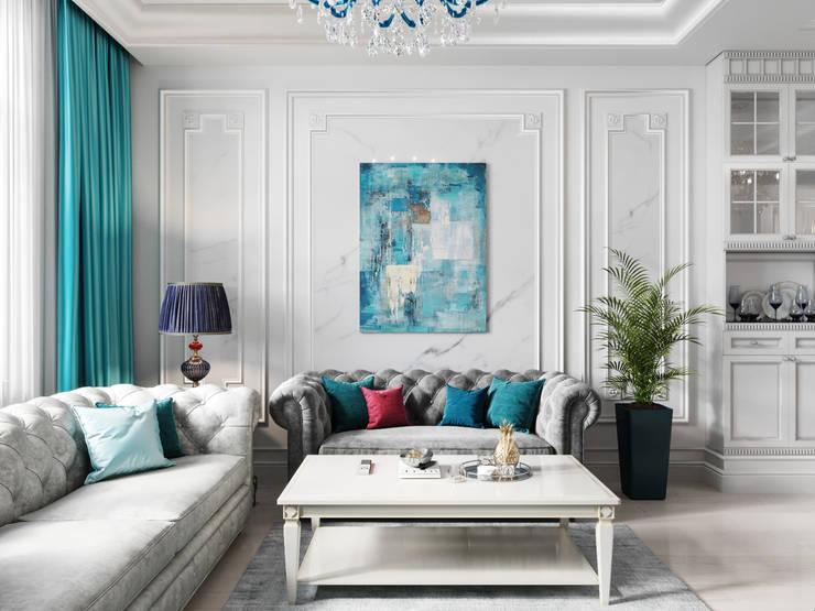 Salas / recibidores de estilo  por Дизайн интерьера Киев|tishchenko.com.ua