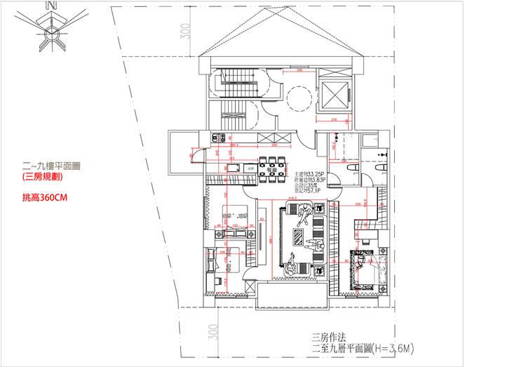 二~九樓平面圖 (三房規劃) 挑高360CM:   by 雲展建築設計 Winstarts Architectural Design Group