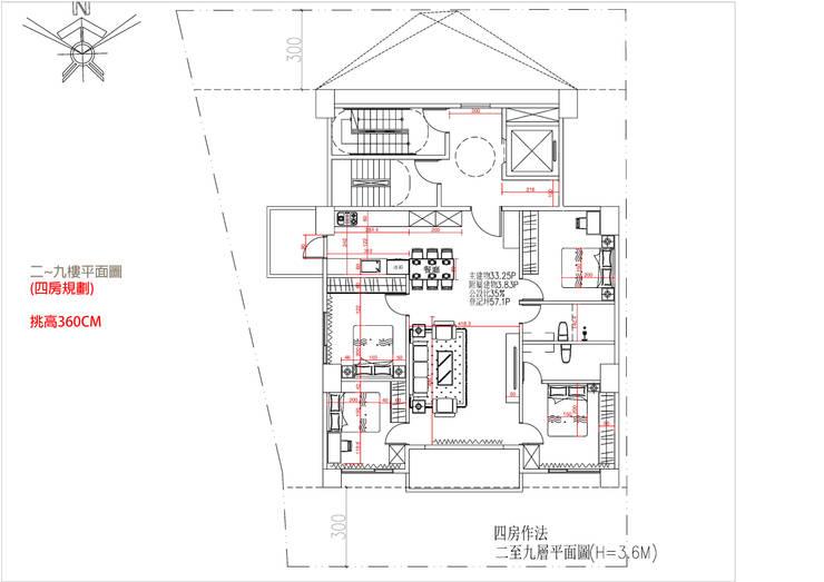 二~九樓平面圖 (四房規劃) 挑高360C:   by 雲展建築設計 Winstarts Architectural Design Group