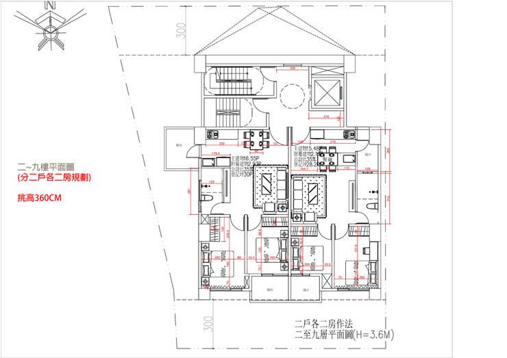 二~九樓平面圖 (分二戶各二房規劃) 挑高360C:   by 雲展建築設計 Winstarts Architectural Design Group