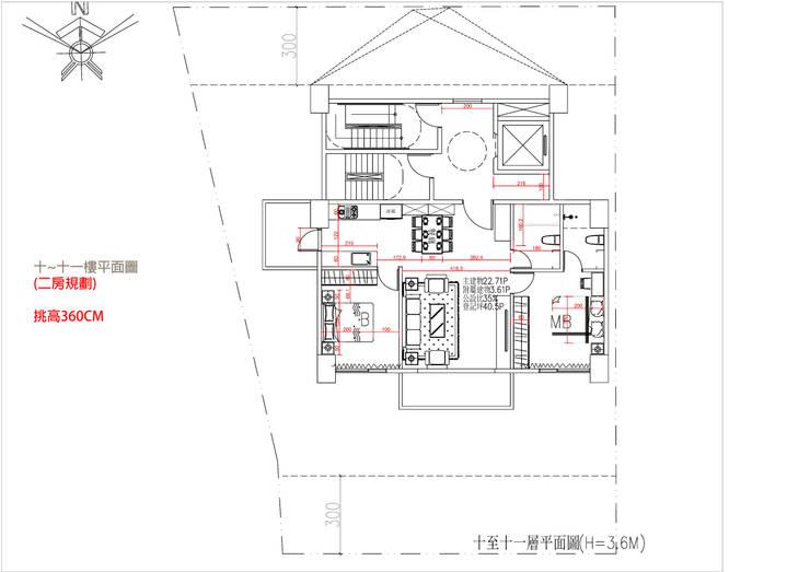 十~十一樓平面圖 (二房規劃) 挑高360CM:   by 雲展建築設計 Winstarts Architectural Design Group