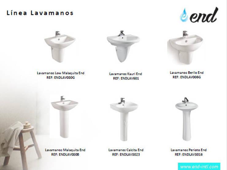 Linea de Lavamanos Eficientes:  de estilo  por End International, Moderno Cerámica