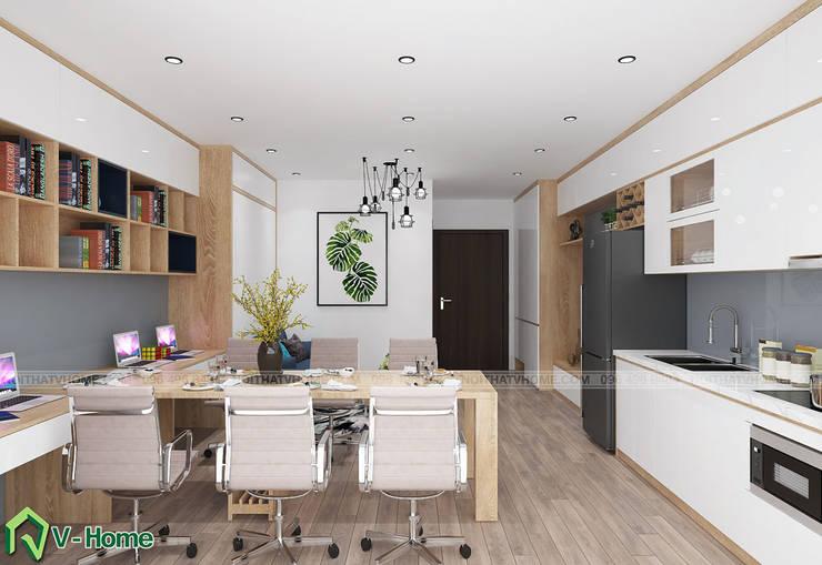 Thiết kế nội thất căn hộ Officetel D'Capital:  Living room by Công ty CP tư vấn thiết kế và xây dựng V-Home