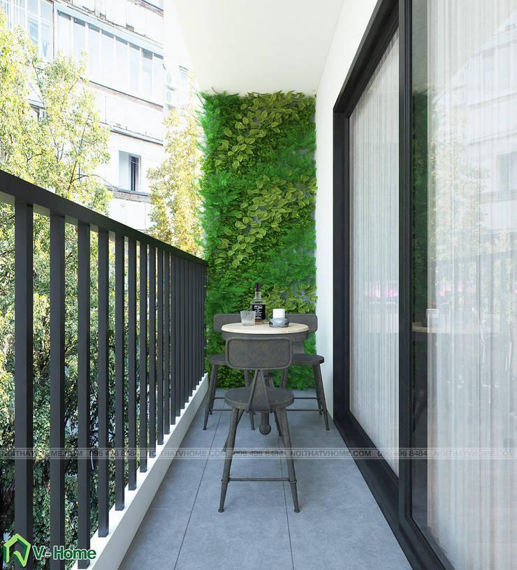 Thiết kế nội thất căn hộ Officetel D'Capital:  Balconies, verandas & terraces  by Công ty CP tư vấn thiết kế và xây dựng V-Home
