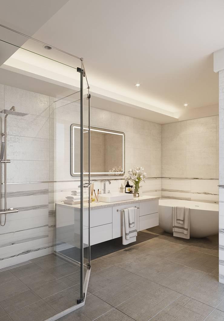 百玥空間設計 ─ 靜觀:  浴室 by 百玥空間設計