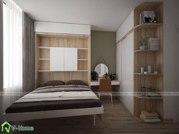 Thiết kế nội thất nhà lô tại Ngọc Hà – A. Đức:  Bedroom by Công ty CP tư vấn thiết kế và xây dựng V-Home