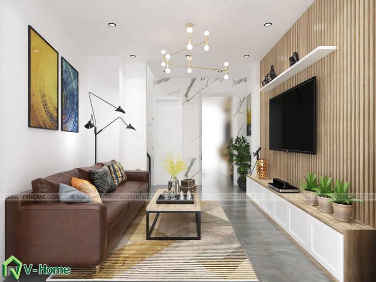 Thiết kế nội thất nhà lô tại Ngọc Hà – A. Đức:  Living room by Công ty CP tư vấn thiết kế và xây dựng V-Home