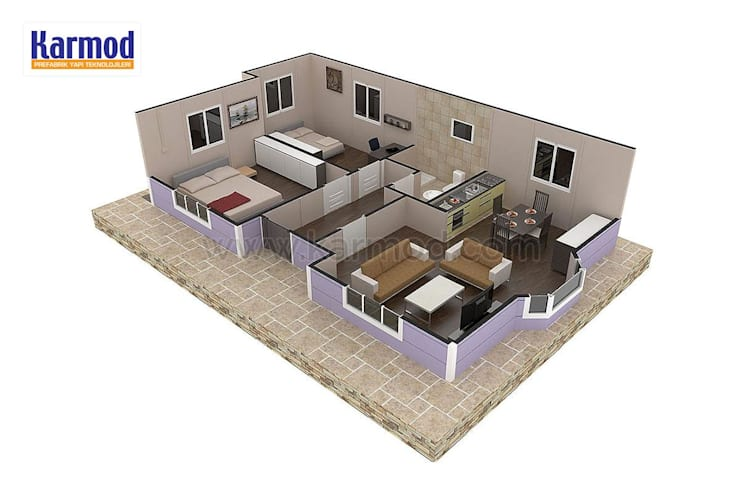 KARMOD PREFABRICATED TECHNOLOGIES – Karmod Casa Prefabricada de 71 m2:  tarz