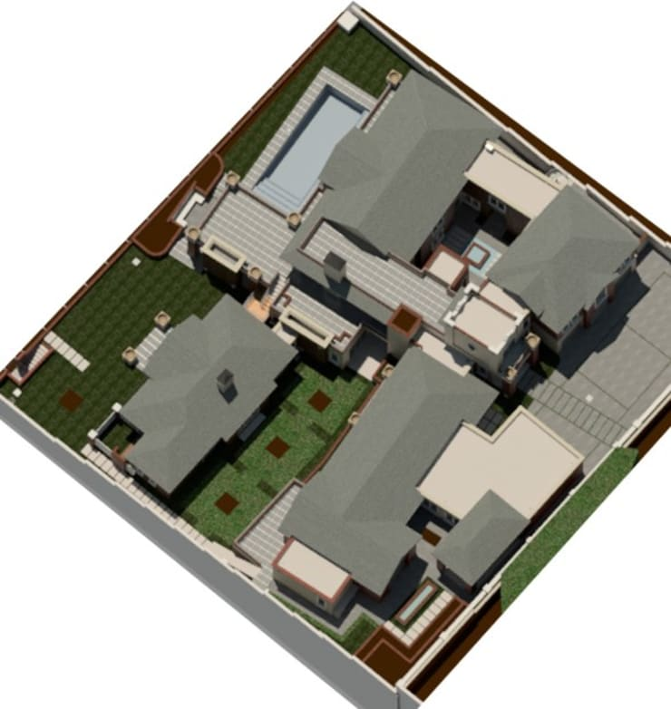 Rendered aerial view – (Seen from South- West):  Houses by Nuclei Lifestyle Design