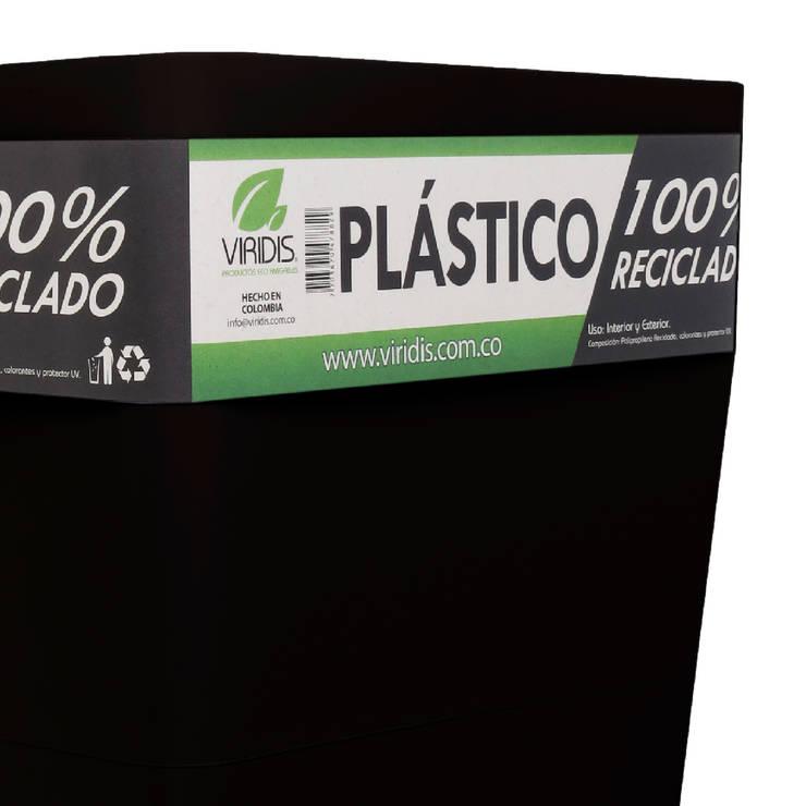 Matera 40cm Elaborada en Plástico 100% Reciclado: Jardín de estilo  por Viridis Productos Eco Amigables