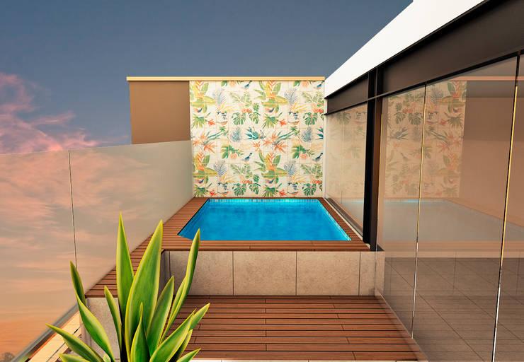 TERRAZA : Terrazas de estilo  por Luis Escobar Interiorismo, Moderno