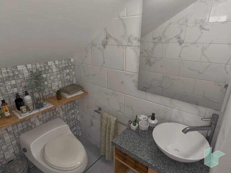 Baño de visita bajo escalera.: Baños de estilo  por LS Arquitectura, diseño y acústica