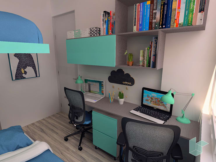 Escritorio en habitación de dos niños: Cuartos para niños de estilo  por LS Arquitectura, diseño y acústica