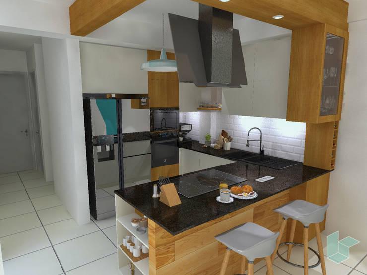 Kitchenette, tablero negro absoluto: Cocinas pequeñas de estilo  por LS Arquitectura, diseño y acústica
