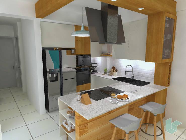 Kitchenette, tablero blanco nieve: Cocinas pequeñas de estilo  por LS Arquitectura, diseño y acústica