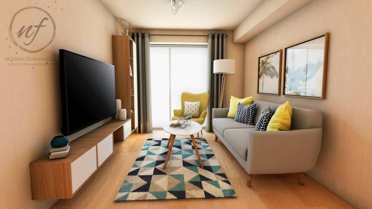 PROYECTO EXCELLENCE : Salas / recibidores de estilo  por NF Diseño de Interiores