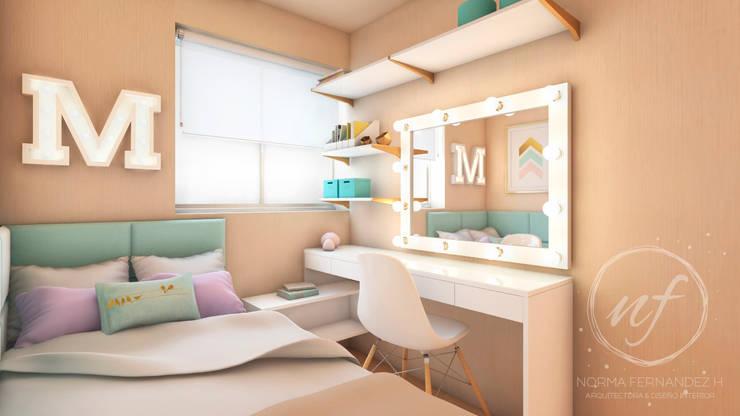 PROYECTO EXCELLENCE - DORMITORIO JUVENIL : Cuartos pequeños  de estilo  por NF Diseño de Interiores