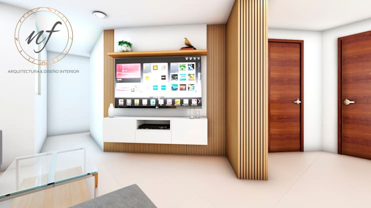 PROYECTO RESIDENCIAL  ANIA - MUEBLE TV: Salas / recibidores de estilo  por NF Diseño de Interiores , Moderno