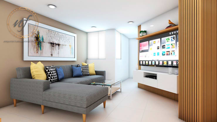 PROYECTO RESIDENCIAL  ANIA - SALA: Salas / recibidores de estilo  por NF Diseño de Interiores , Moderno