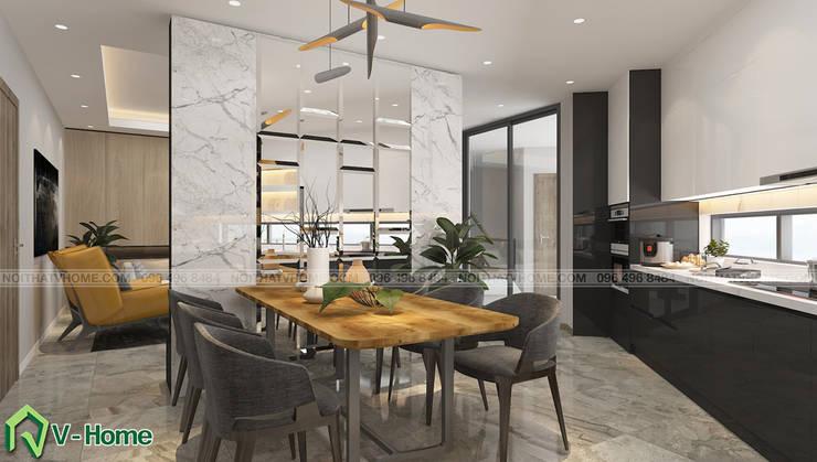 Thiết kế nội thất nhà lô phố hiện đại Đan Phượng - Hà Nội:  Dining room by Công ty CP tư vấn thiết kế và xây dựng V-Home