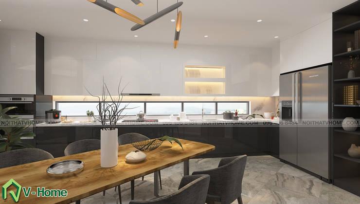 Thiết kế nội thất nhà lô phố hiện đại Đan Phượng – Hà Nội:  Dining room by Công ty CP tư vấn thiết kế và xây dựng V-Home