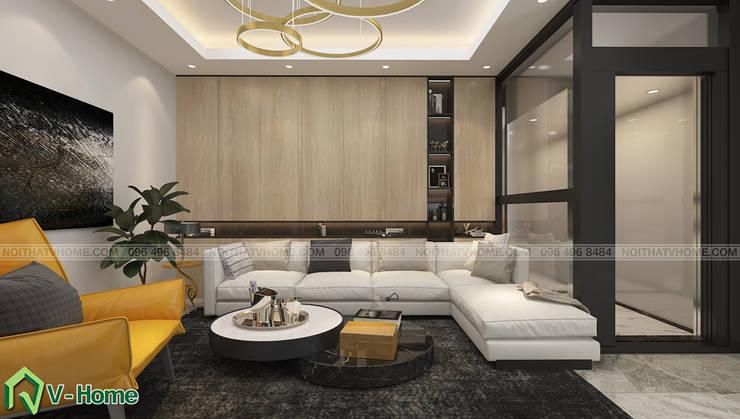Thiết kế nội thất nhà lô phố hiện đại Đan Phượng – Hà Nội:  Living room by Công ty CP tư vấn thiết kế và xây dựng V-Home