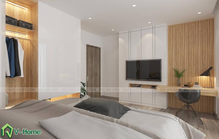 Thiết kế nội thất nhà lô phố hiện đại Đan Phượng – Hà Nội:  Bedroom by Công ty CP tư vấn thiết kế và xây dựng V-Home
