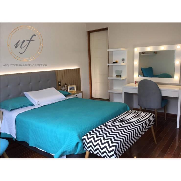 PROYECTO RESIDENCIAL – Dormitorio Jovencita: Dormitorios de estilo  por NF Diseño de Interiores
