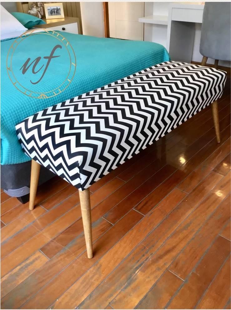 Banqueta Diseñada y fabricada por NF. : Dormitorios de estilo  por NF Diseño de Interiores
