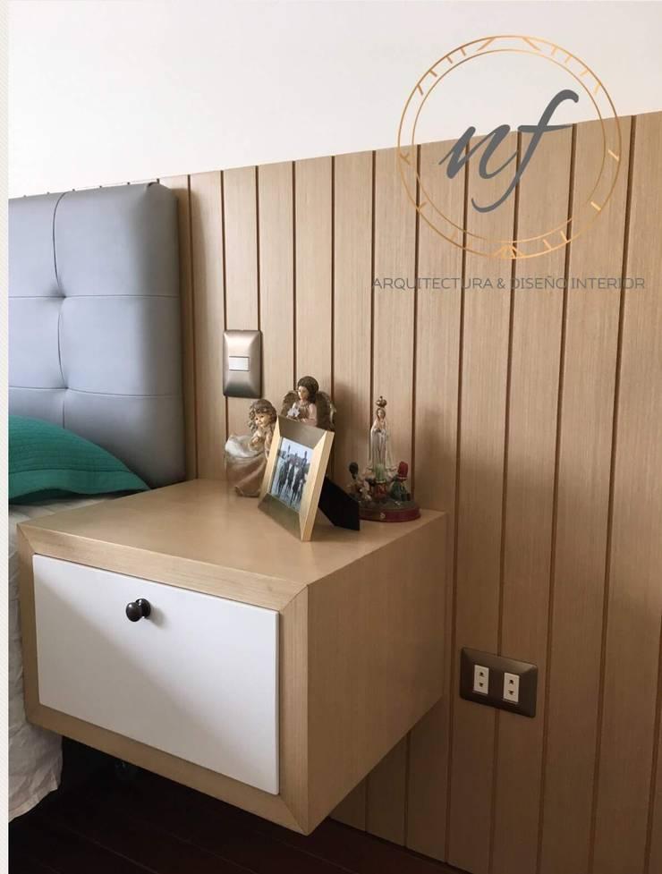 Panel con velador diseñado y fabricado por NF: Dormitorios de estilo  por NF Diseño de Interiores