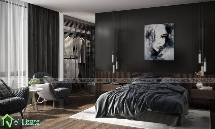 Thiết kế nội thất biệt thự hiện đại – A.Sơn:  Bedroom by Công ty CP tư vấn thiết kế và xây dựng V-Home