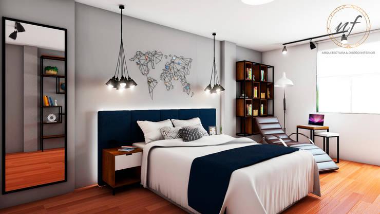 PROYECTO RESIDENCIAL - JOVEN: Dormitorios de estilo  por NF Diseño de Interiores
