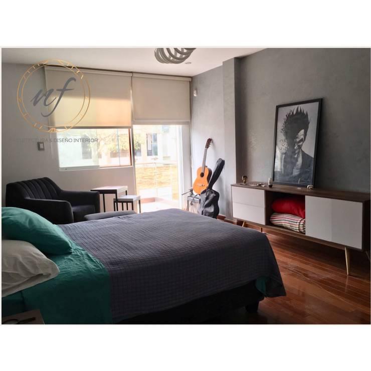 PROYECTO RESIDENCIAL – JOVEN: Dormitorios de estilo  por NF Diseño de Interiores