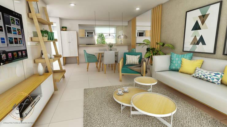 PROYECTO MULTIFAMILIAR : Salas / recibidores de estilo  por NF Diseño de Interiores , Moderno