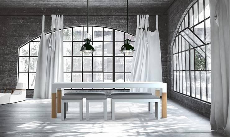 BORRA Tijdloze design tafel houten poten: modern  door PRODUCTLAB, Modern Aluminium / Zink