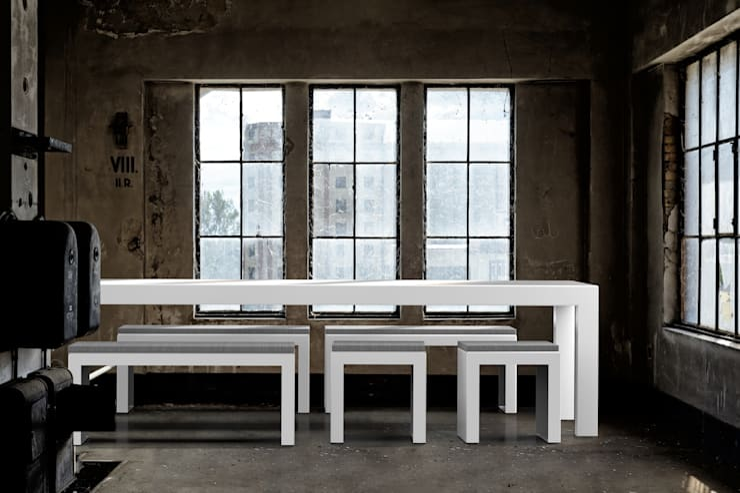 BORRA tijdloze Design tafel aluminium poten:  Eetkamer door PRODUCTLAB