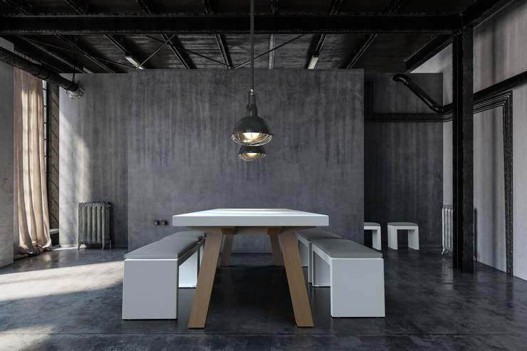 COLLA design tafel met prachtige houten onderstel: modern  door PRODUCTLAB, Modern Aluminium / Zink