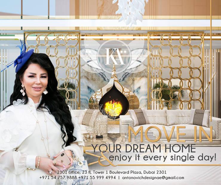 Grand Elegant Living Room Design:   by Luxury Antonovich Design