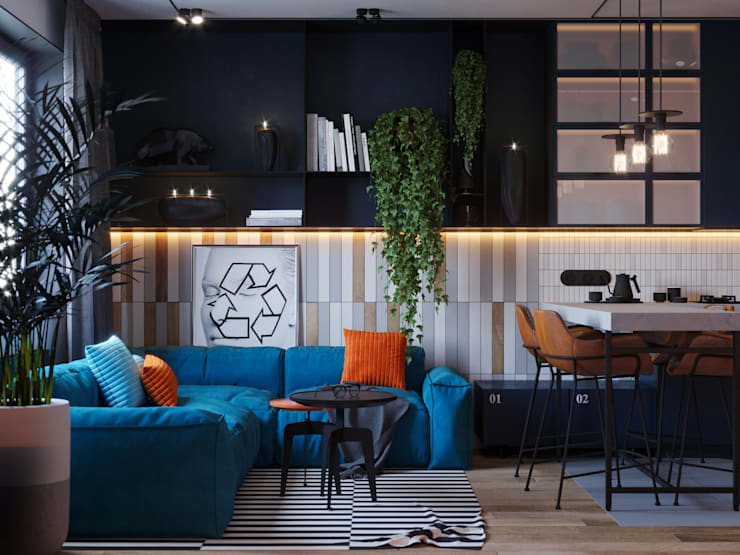 Апартаменты Loft & Wood: Гостиная в . Автор – Suiten7