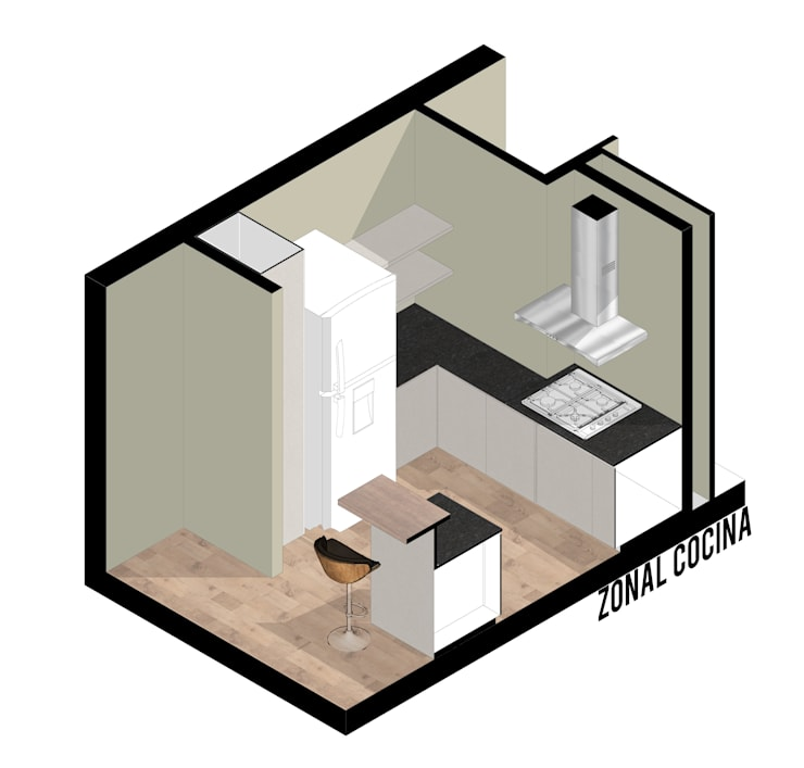 Remodelacion Cocina y equipamiento.: Cocinas de estilo  por RT Arq+Di,