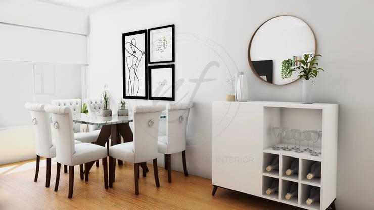 PROYECTO SALA Y COMEDOR   – CHARIARSE- : Salas / recibidores de estilo  por NF Diseño de Interiores