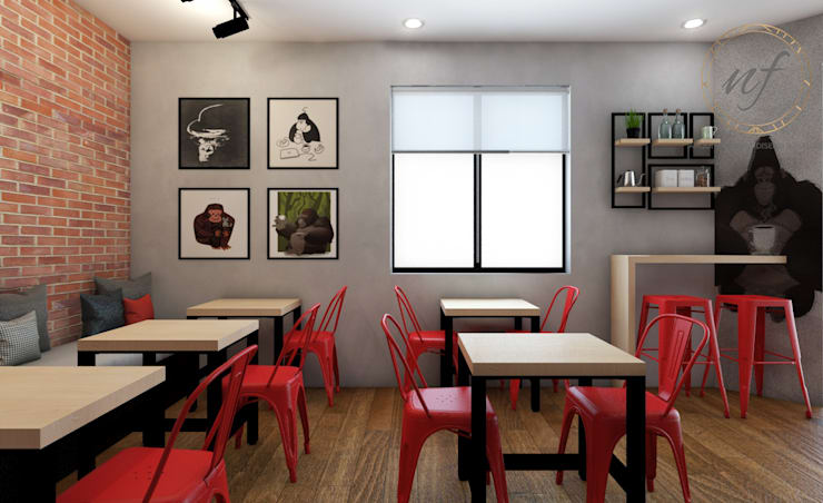 PROYECTO CAFETERIA RED HEAD COFFEE SHOP : Restaurantes de estilo  por NF Diseño de Interiores